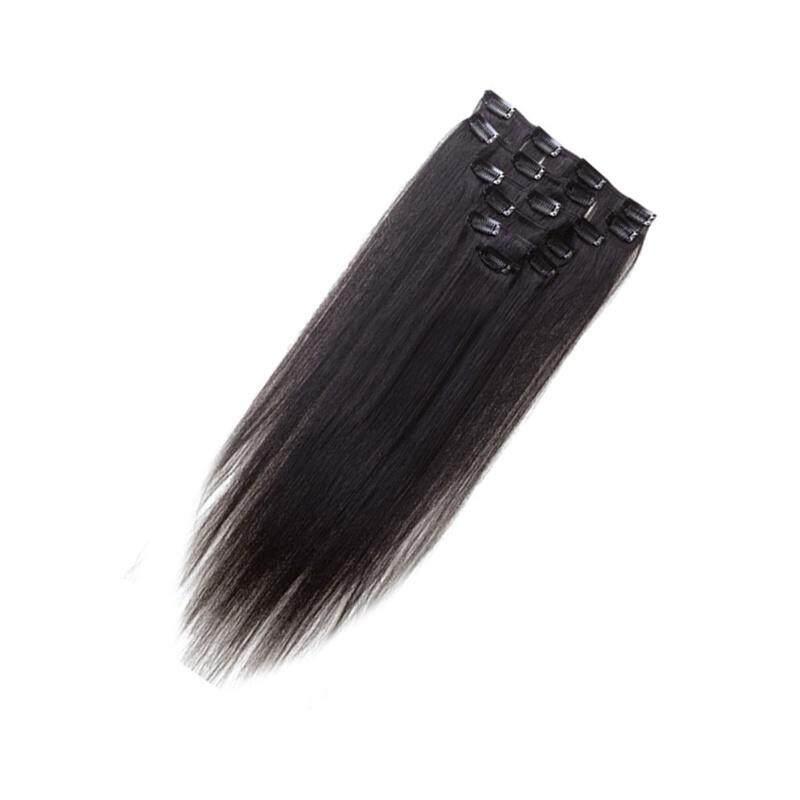 Detail Gambar Rambut Manusia Wanita Klip Ekstensi Rambut 7 Pcs 70G 22 Inch Alami-Hitam-Internasional Terbaru