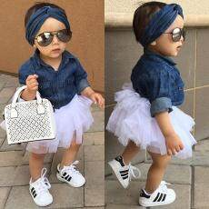 Kasual Anak-anak Perempuan Girls Denim Baju Atasan + Tutu Rok Kue Gaun 3 Pcs