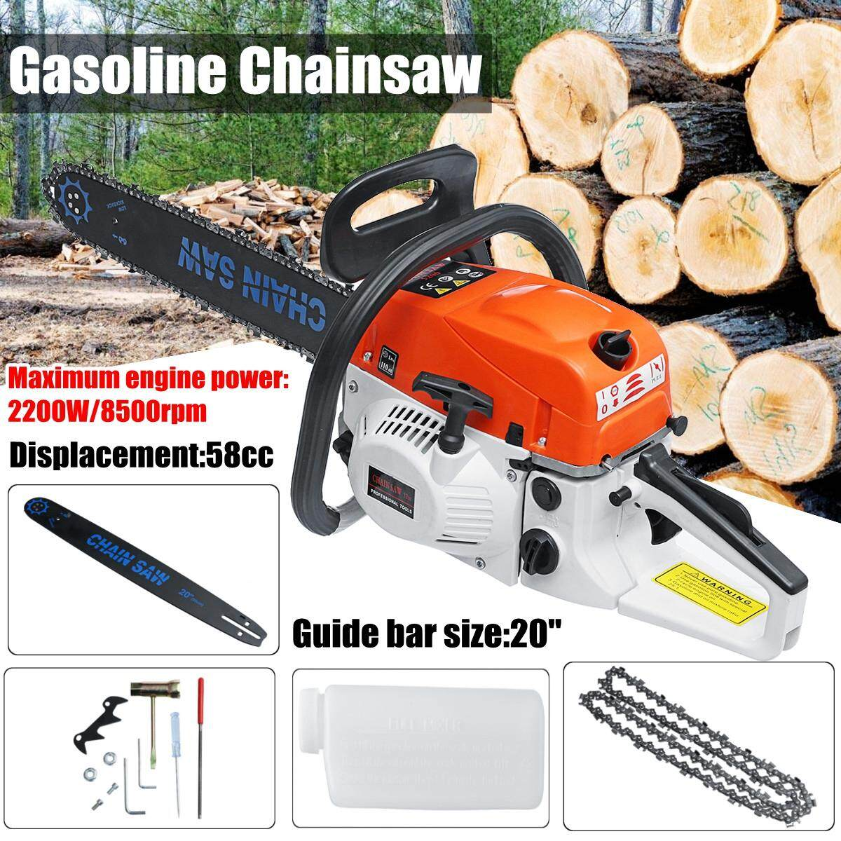 3800w 20 Gasoline Chainsaw Machine Cutting Wood 62cc 12000rmp Gas Chain Saw By Audew.