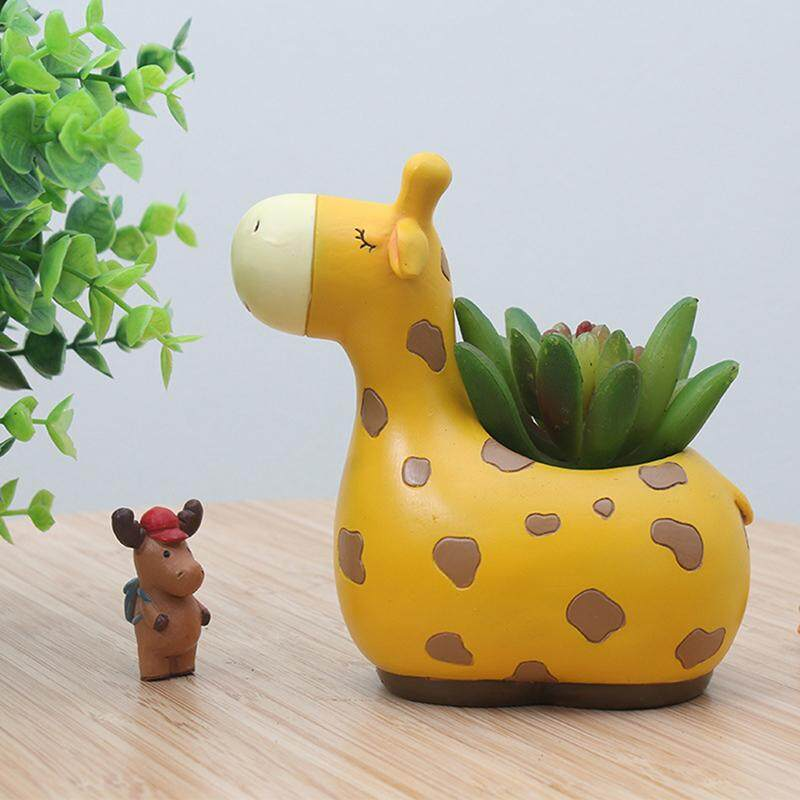 Features Mini Cartoon Giraffe Flower Pot Creative Plant Pot Home