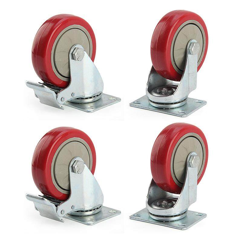 4 x Heavy Duty 125mm Rubber Wheel Swivel Castor Wheels Trolley Caster Brake Set of castor