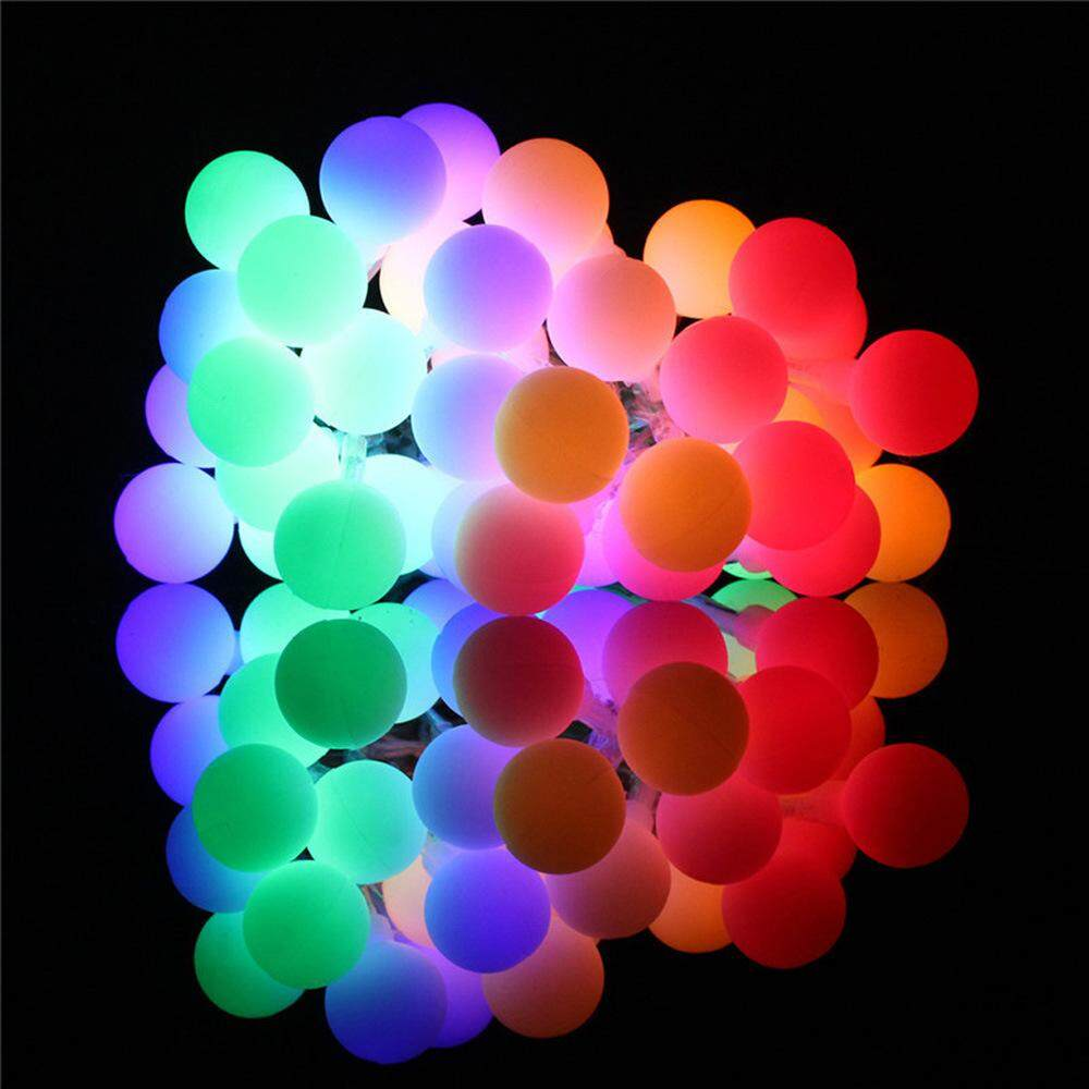 50 LED Outdoor Globe String Lights 8 Modes Battery Operated Frosted White Ball Fairy Light
