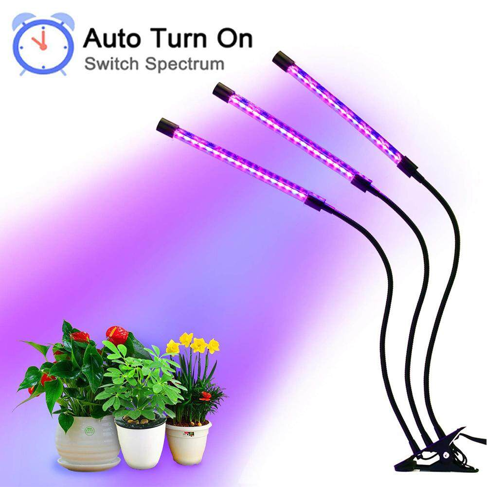 Clip Holder Timer Lamp 18w Plant Growth Light LED 3-heads For Indoor Plants