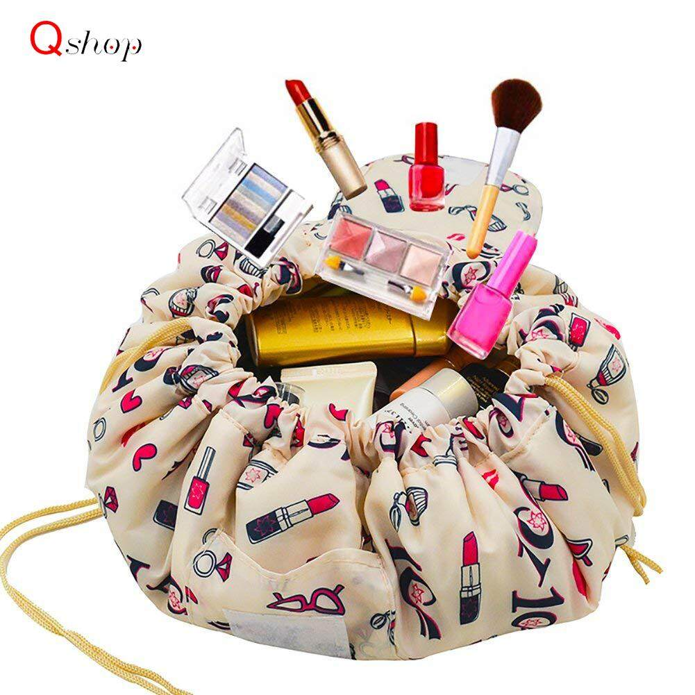 9bc08ddee6b2 Q-shop Lazy Portable Makeup Bag Large Capacity Drawstring Cosmetic Bag  Travel Makeup Pouch Magic Toiletry Bag Storage Organizer for Women and Girl