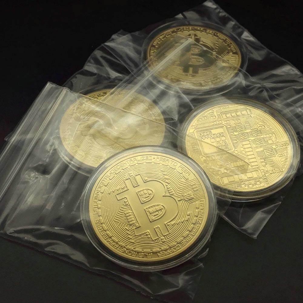 Hình ảnh Fashion Copper Alloy Gold Bitcoin Commemorative Round Collectors Coin Bit Coin - intl