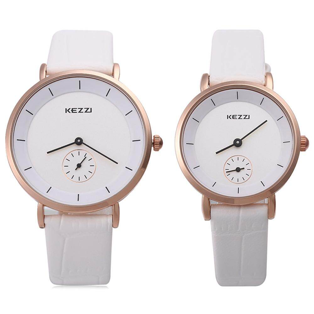 KEZZI KW - 1080 Couple Quartz Watch Round Dial with Small Second Dial Wristwatch - intl