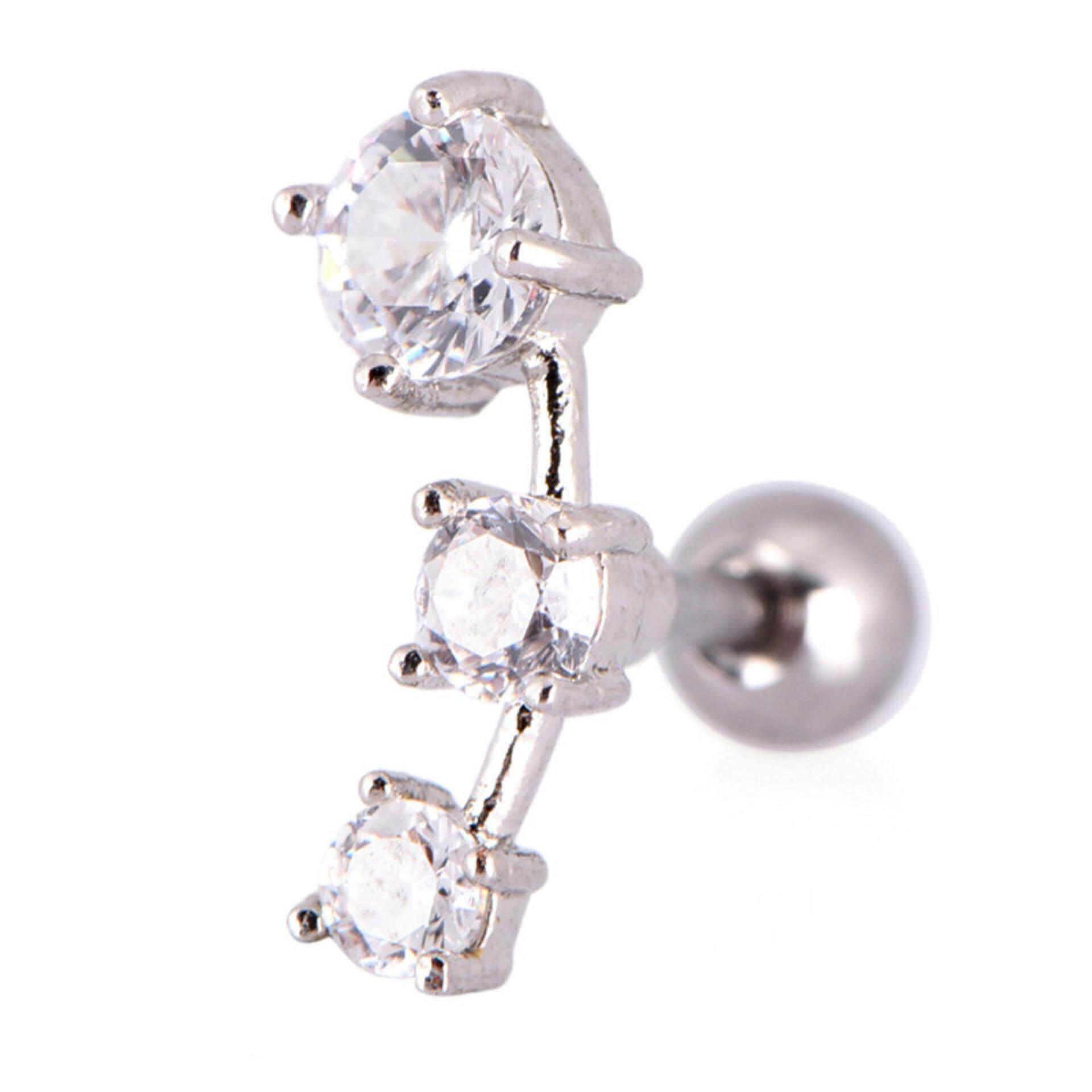 Cubic Zirconia Steel Barbell Ear Tragus Cartilage Helix Stud Earrings Piercing White