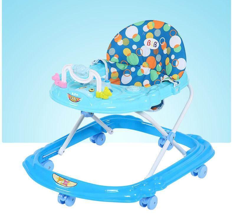 Bayi Walker Tinggi Dapat Disesuaikan Anti Fall Berputar Multi-fungsi Cart Musik Mengemudi Kursi dengan Wheels dan Mainan-Internasional