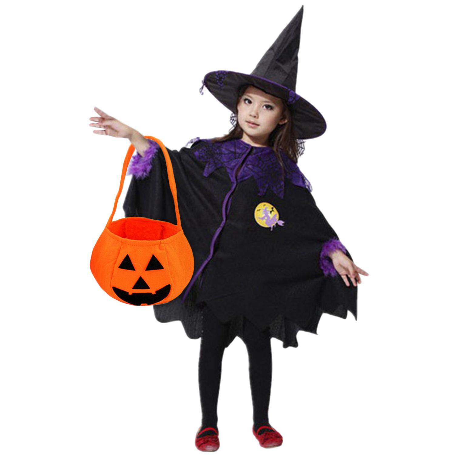 Mavis Halloween Costume Toddler.Kid Boys Girls Witch Costumes With Pumpkin Bag Cloak Cape Hat For Halloween Cosplay Role Play Stage Performance