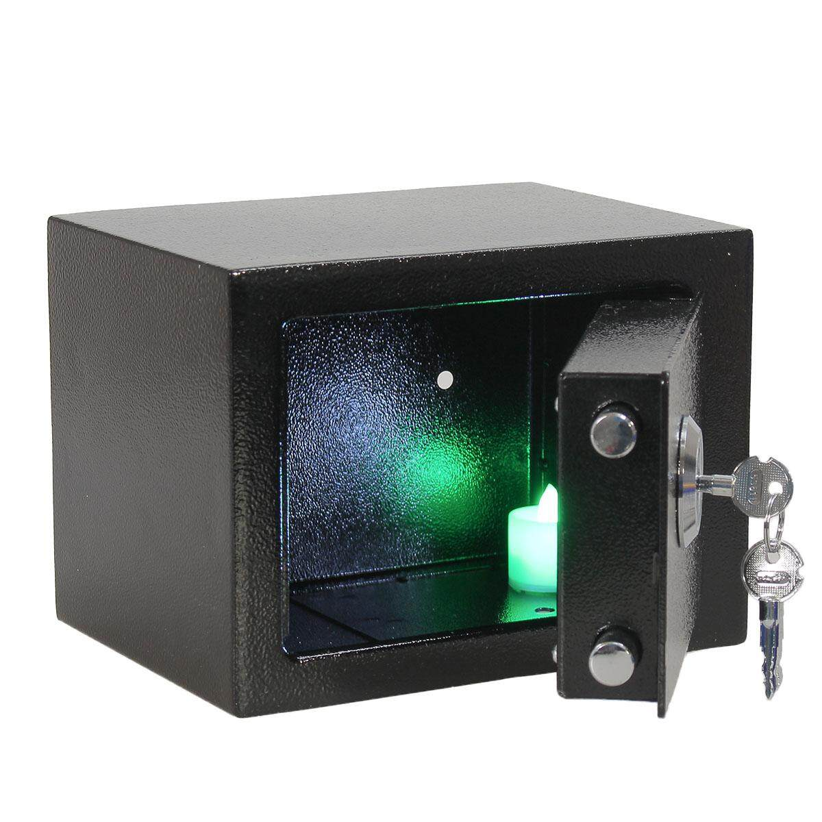 Strong Iron Steel Key Operated Security Money Cash Safe Box W/ Key Home Office