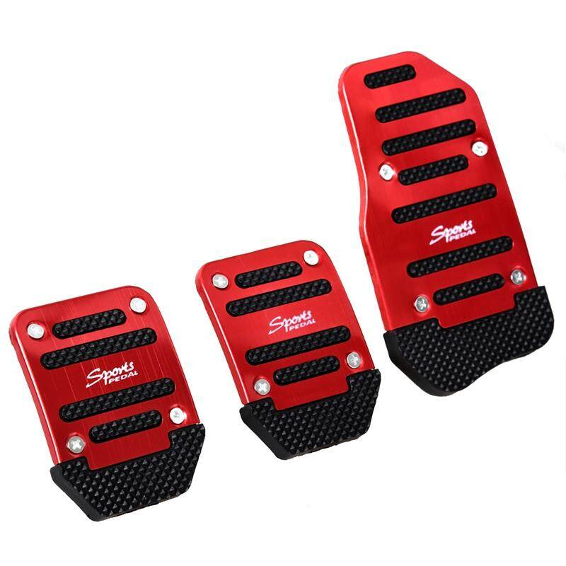 3 Pcs Black Red Metal Plastic Nonslip Pedal Cover Set For Car - Intl By Sunnny2015