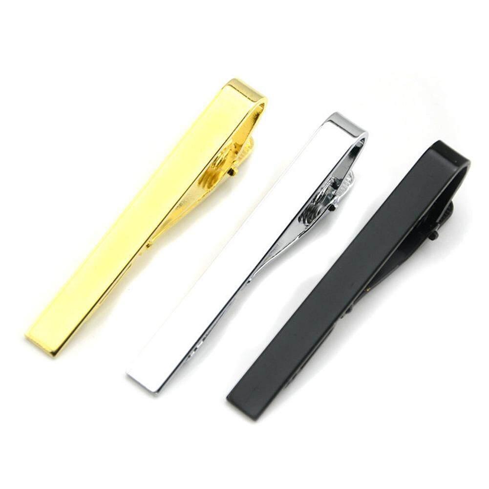 c79b51cffe4d Hiqueen 3 Pcs Fashion Simple Necktie Clips Tie Bar Clips Tie Pins Set Black  Silver Gold