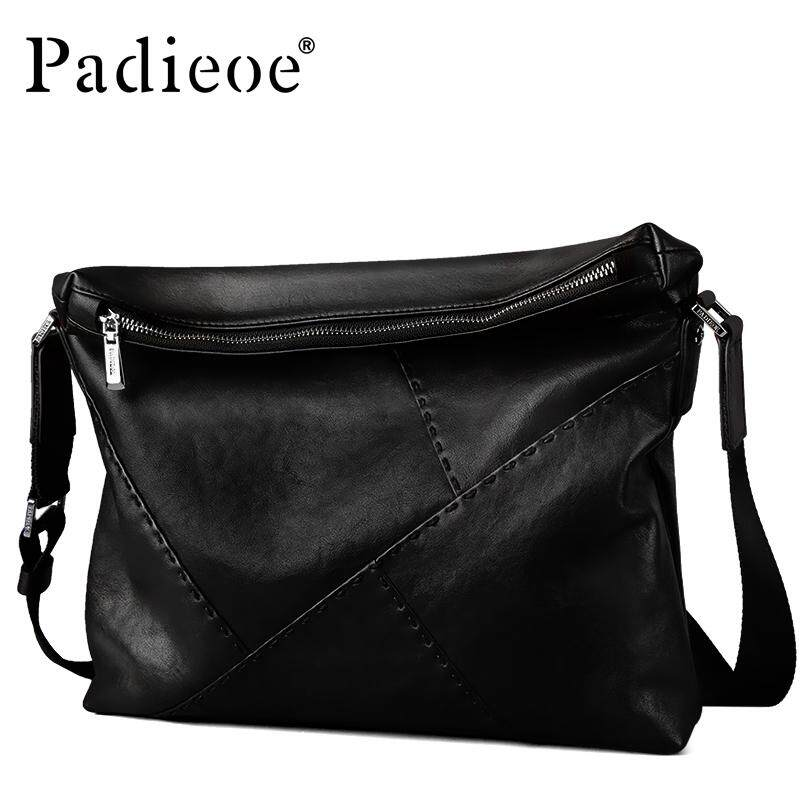 47e4868c8193 Padieoe Men Genuine Leather Shoulder Luxury Brand Messenger Bags Black Male  Handbags Business Man Crossbody Sling