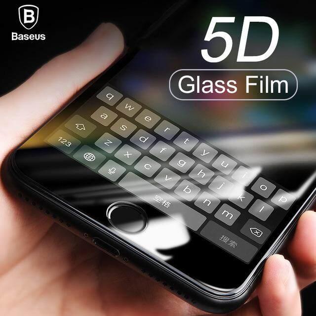 (5D HD Hitam) BASEUS untuk iPhone 8 7 Plus Perlindungan Menyeluruh 5D Pelindung Layar Kaca Antigores Plus Perlindungan Menyeluruh Pelindung Tangguh Lapisan Film Kaca-Intl