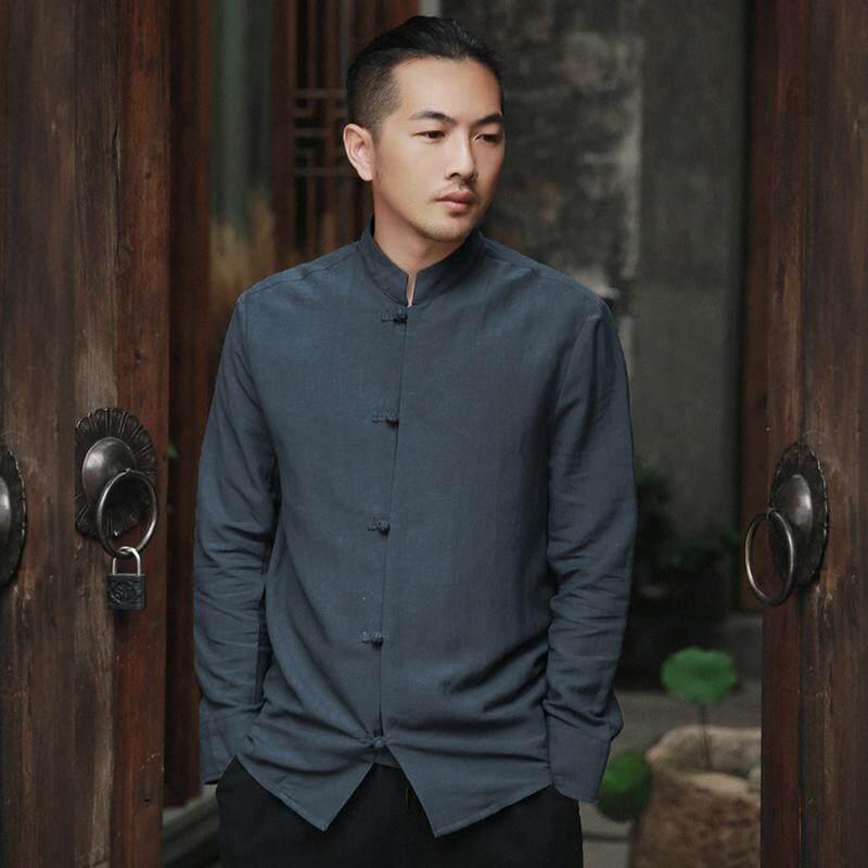 Oriental Style gaya Cina linen leher bulat linen kemeja katun baju kemeja (Abu-abu gelap)