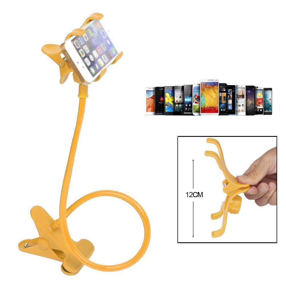 Lazy Mount Double V Clip Cell Phone Holder Clamp Flexible Goose neck Yellow
