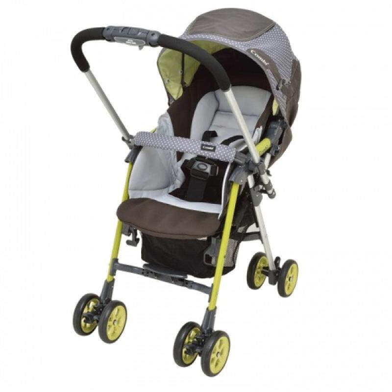 Combi Ampio Stroller Puntini Lime Large Canopy 3D mesh Baby seat New Model