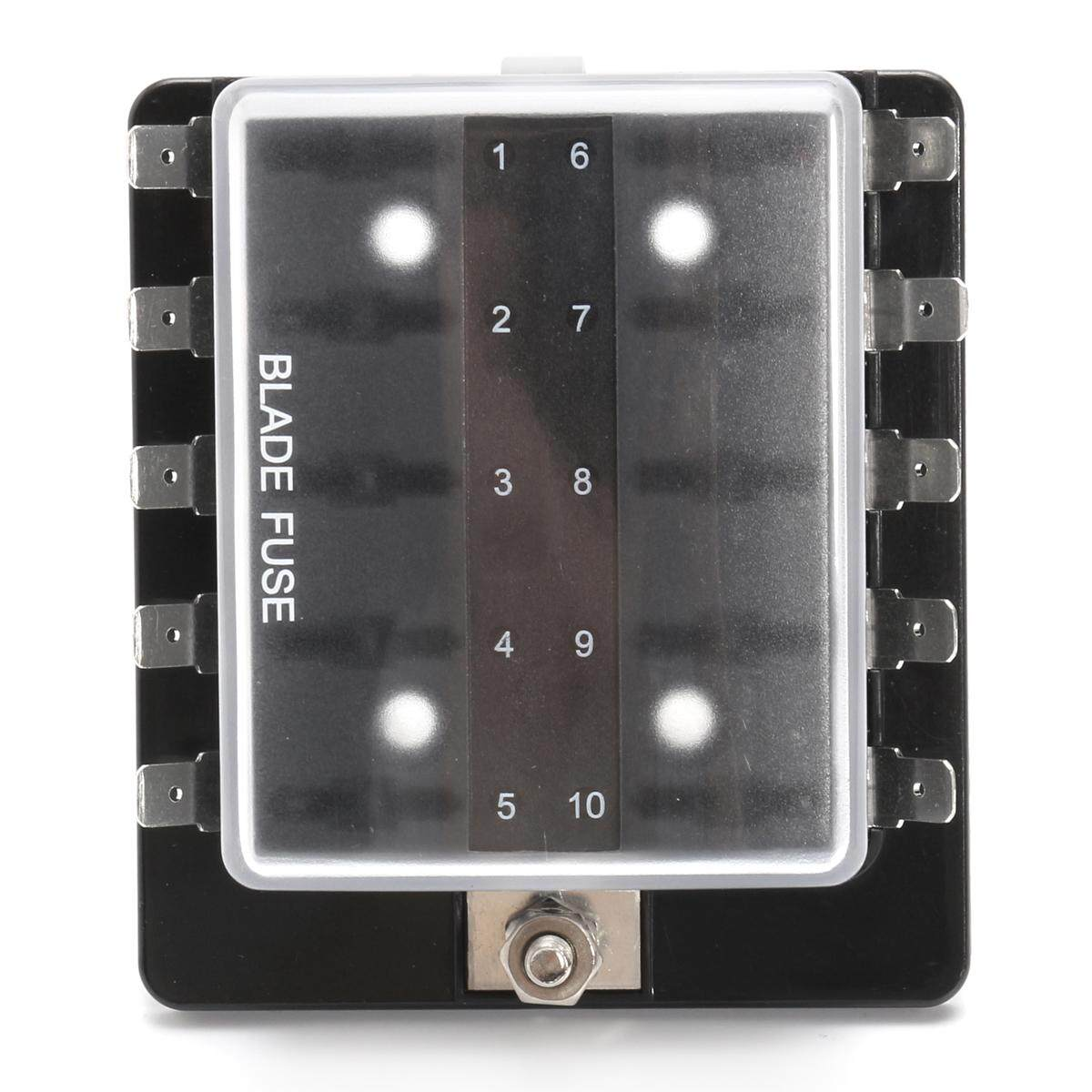 10 Way Dc12v/24v/32v Car Van Boat Marine Blade Fuse Box Holder Block /w Cover - Intl By Audew.