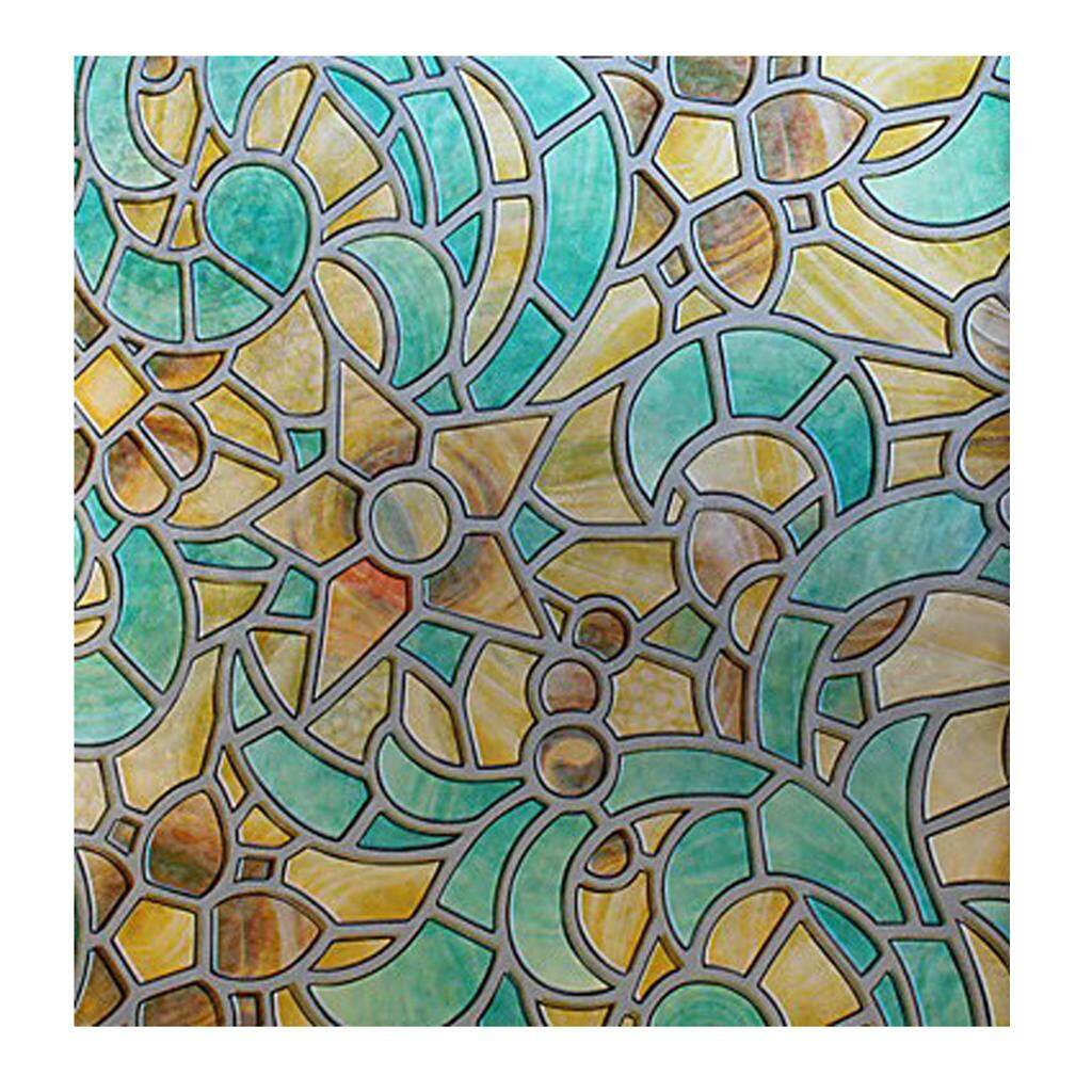 Fityle Privacy Frosted Window Film Self-Adhesive Stained Glass Window Decor Retro By Fityle.