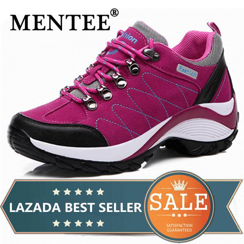 MENTEE Waterproof Hiking Shoes Women Height Increasing Climbing Mountain  Shoes Women Leather Outdoor Hiking Boots 9de27e63293
