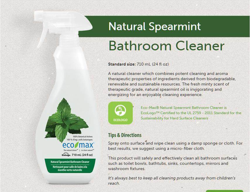 ECO-MAX Natural Spearmint Bathroom Cleaner, 710ml