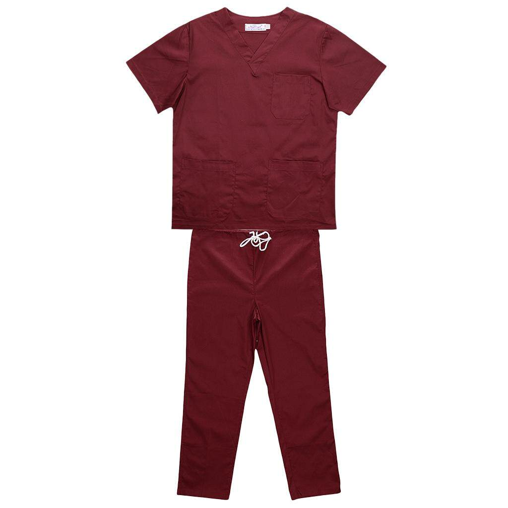 MagiDeal Men Women Medical Spa Nursing Clinic Scrub Sets Hospital Uniform XL Red