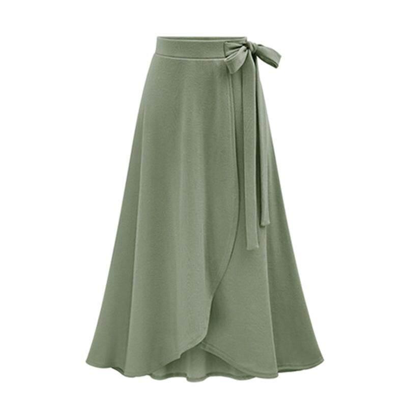 f81204a3c2 DE Women Summer High Waist Skirt Female Irregular Split Long Skirt Bind  Belt Skirts