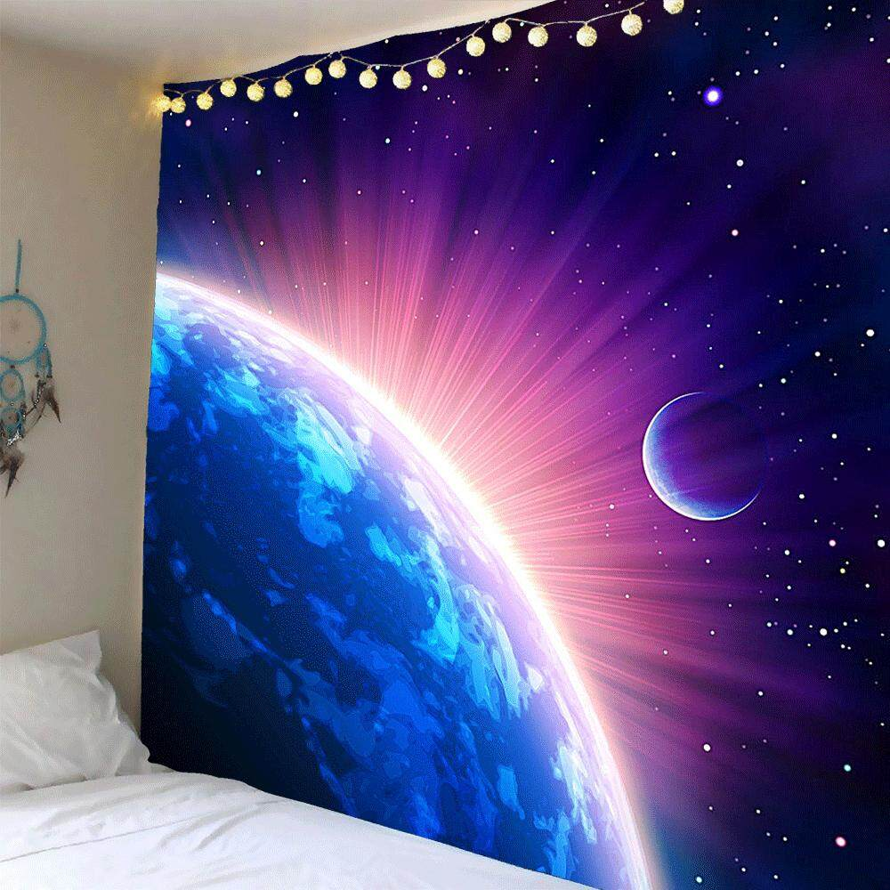 Galaxy Starry Star Earth Hanging Wall and Blanket Background Fabric Multipurpose Vintage Hippie Beach and Yoga Towel - intl