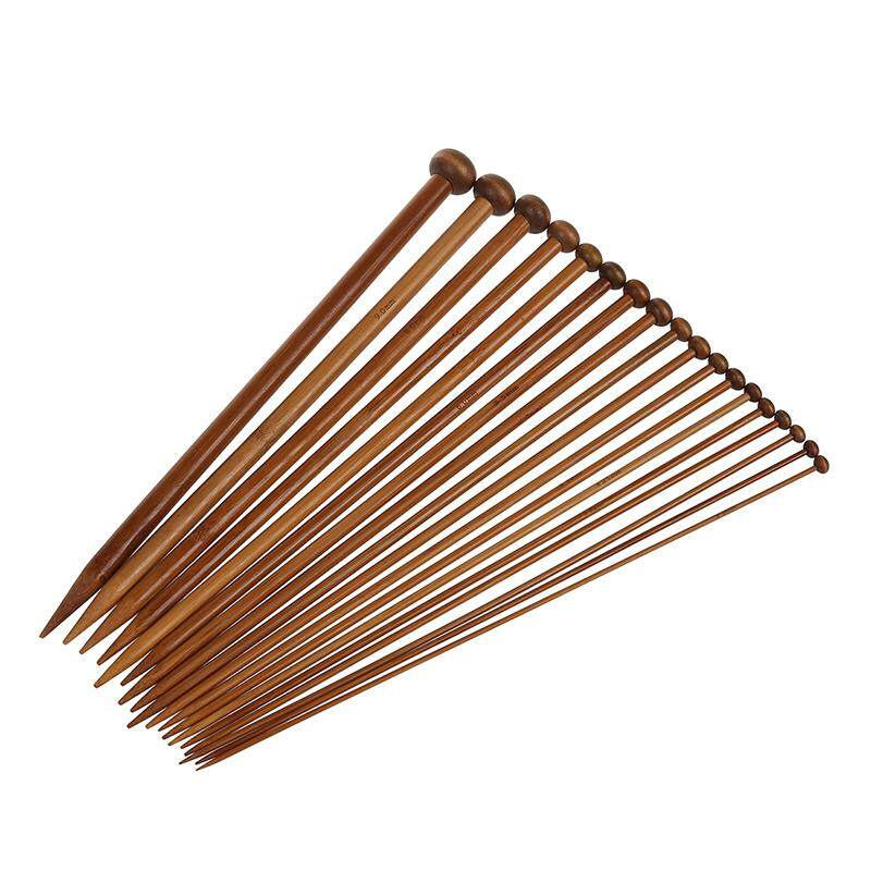 18 Sizes Carbonized Bamboo Knitting Needles Single Pointed Needles - Intl By Sunnny2015.