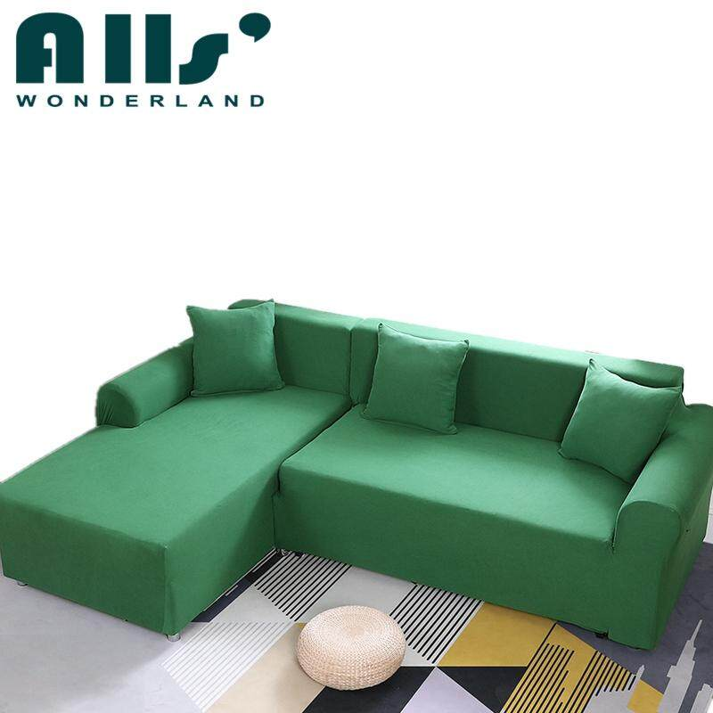 2pcs Pure Color Stretch Sofa Slipcover Elastic Sofa Cover for L Shape Sofa Furniture Protector(3 Seater+4 Seater) - intl