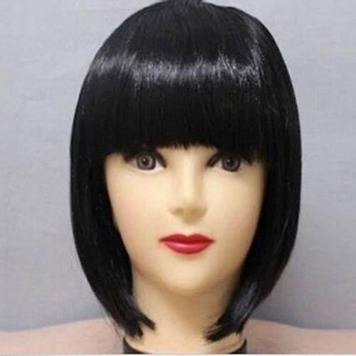 Upsee Hitam 30 Cm Fashion Wanita Sexy Berponi Penuh Wig Lurus Pendek Bobo Pesta Cosplay Wig Lengkap