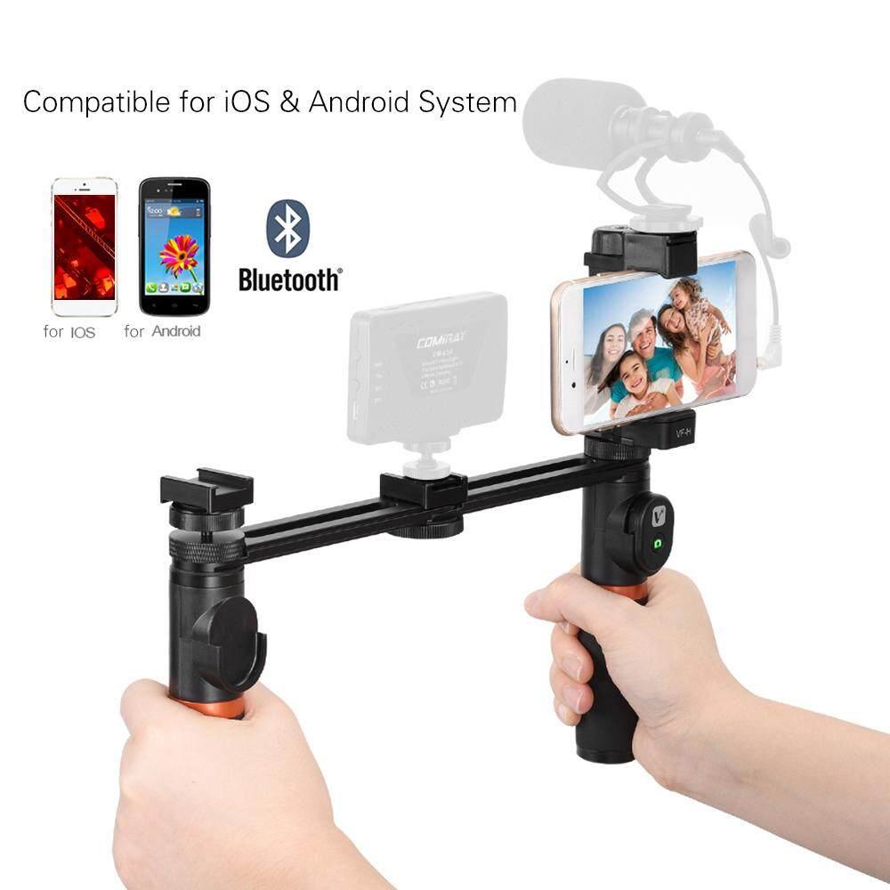 Viewflex VF-H5 Smartphone Video Rig Dual Genggam Pegangan Logam Perlengkapan Penstabil dengan Pengendali Jarak Jauh/Sepatu Panas Mount untuk iPhone X 8 7 6 S plus untuk Samsung Galaxy S8 + S8 Note 3 Huawei