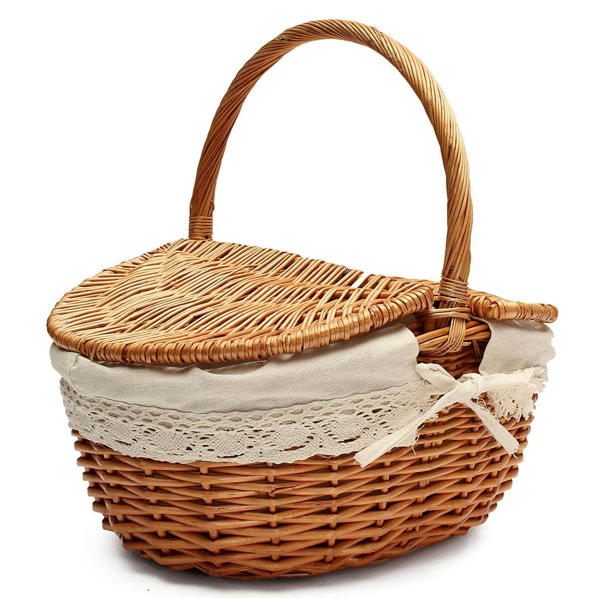 Up To 10kg Wicker Hand Picnic Storage Basket Shopping Hamper With Lid And Handle By Teamtop.