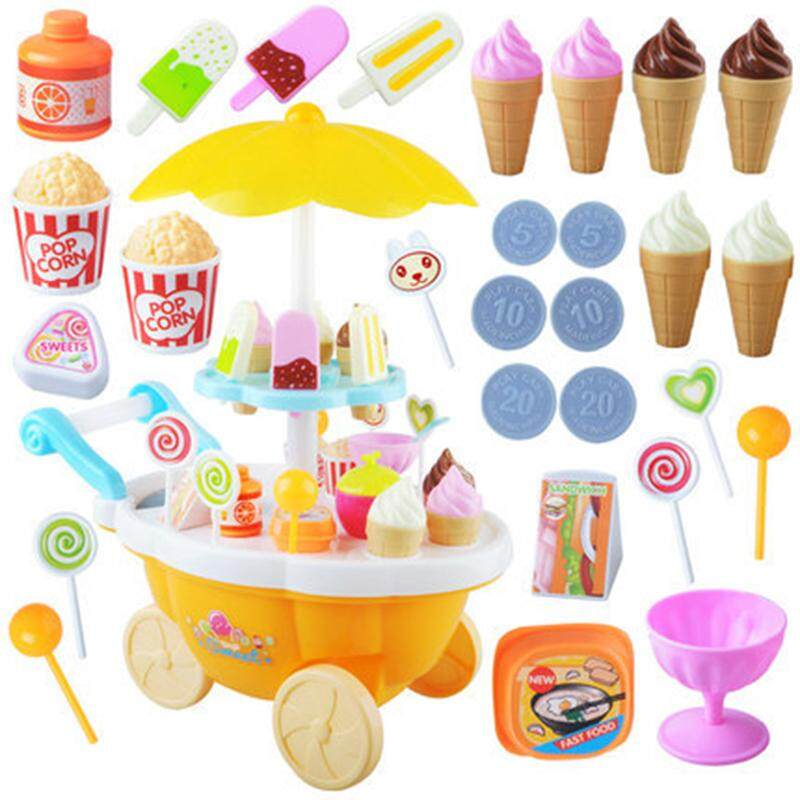 Outops 39pcs Kids Pretend Play Toy Set, Mini Simulated Candy Wheelbarrow Ice Cream Store, Play House Toys By Outop Store.