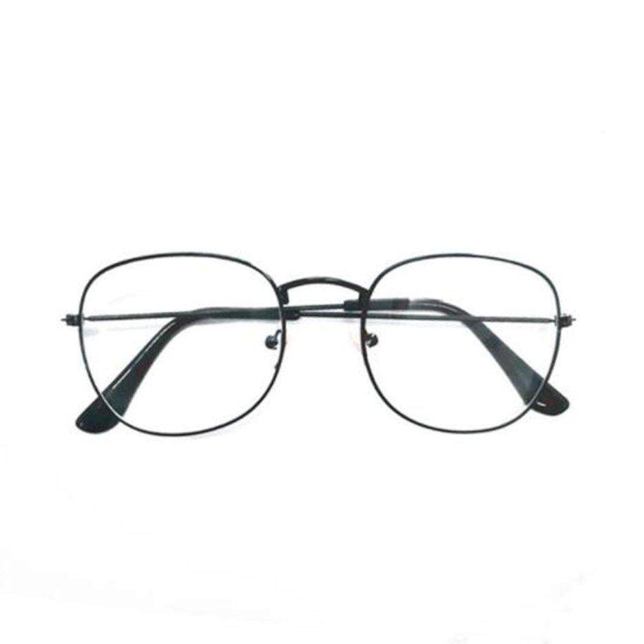 E-ERA Men Women Oval Resin Lens Glasses Metal Frame Flat Myopia Mirror Glasses