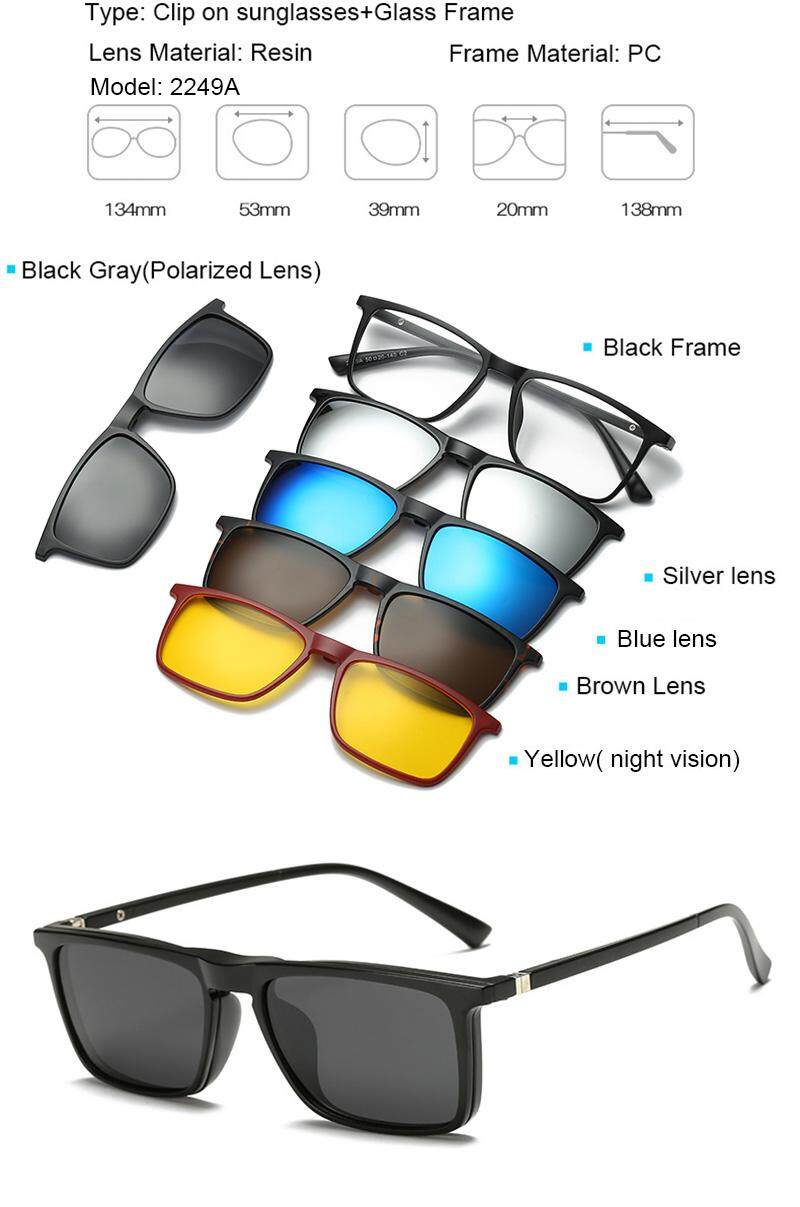 348cac67823 JOSEJINN Clip on Magnetic Sunglasses women men polarised Magnet Clip Myopia  glasses 2249 model
