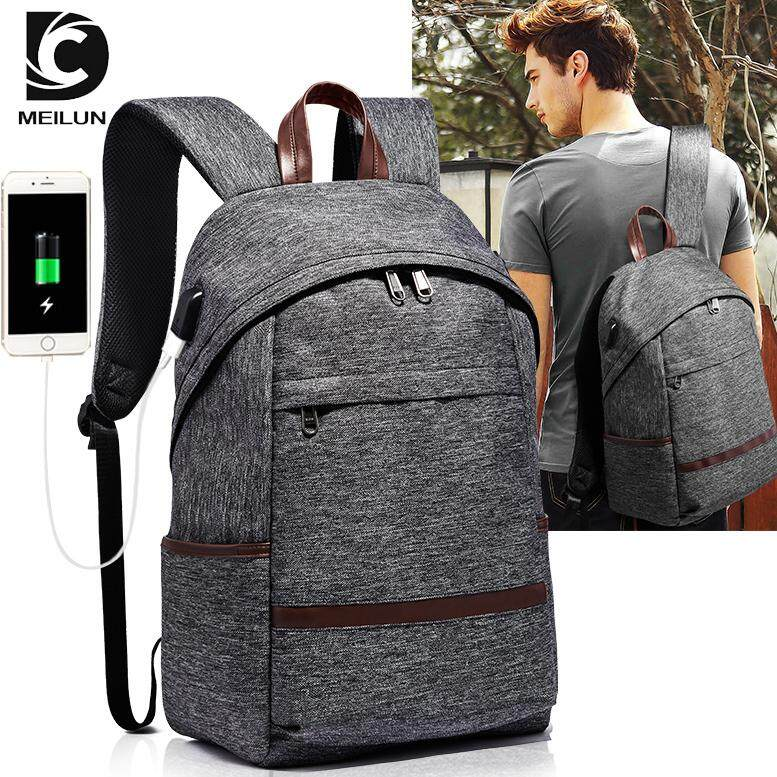 MEILUN Anti-thief USB Charged Casual backpack Earphone 14 inch laptop Rucksack for Women Men Travel school backpack Bag With Luggage Holder - intl