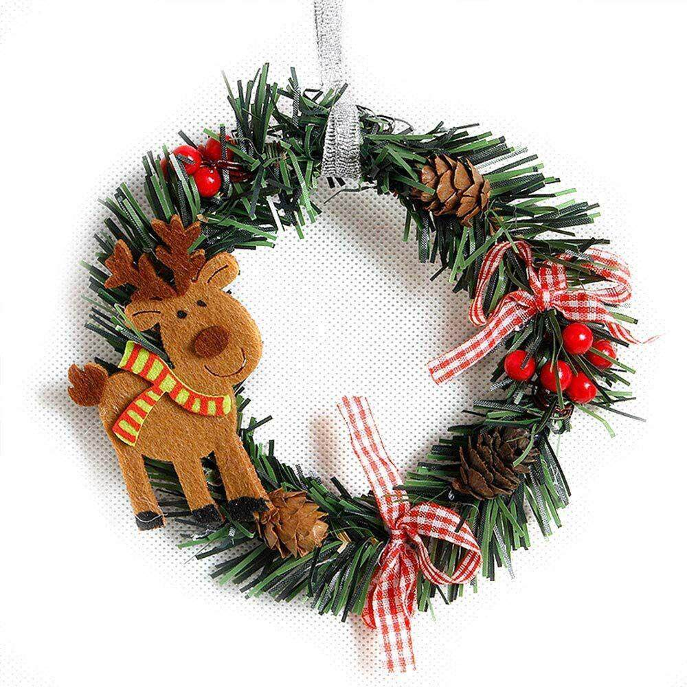 Goodgreat Mini Christmas Wreath Christmas Bow Knot Pine Needle Berries Garlands Decor For Door Wall Railings By Good&great.