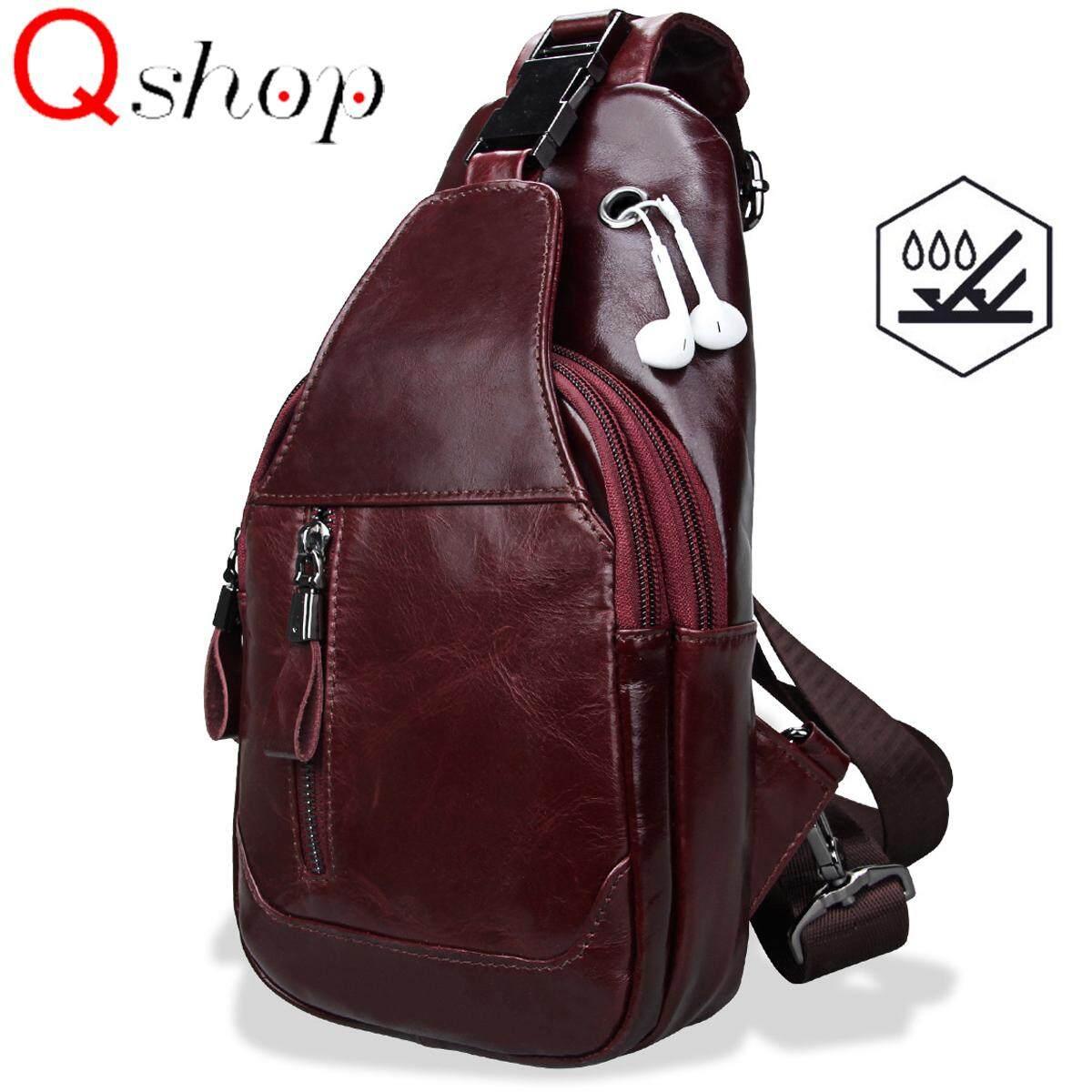 78d1def8dd16 ✅ Water Resistant Q-shop Men s Sling Bag Genuine Leather Chest Shoulder  Backpack