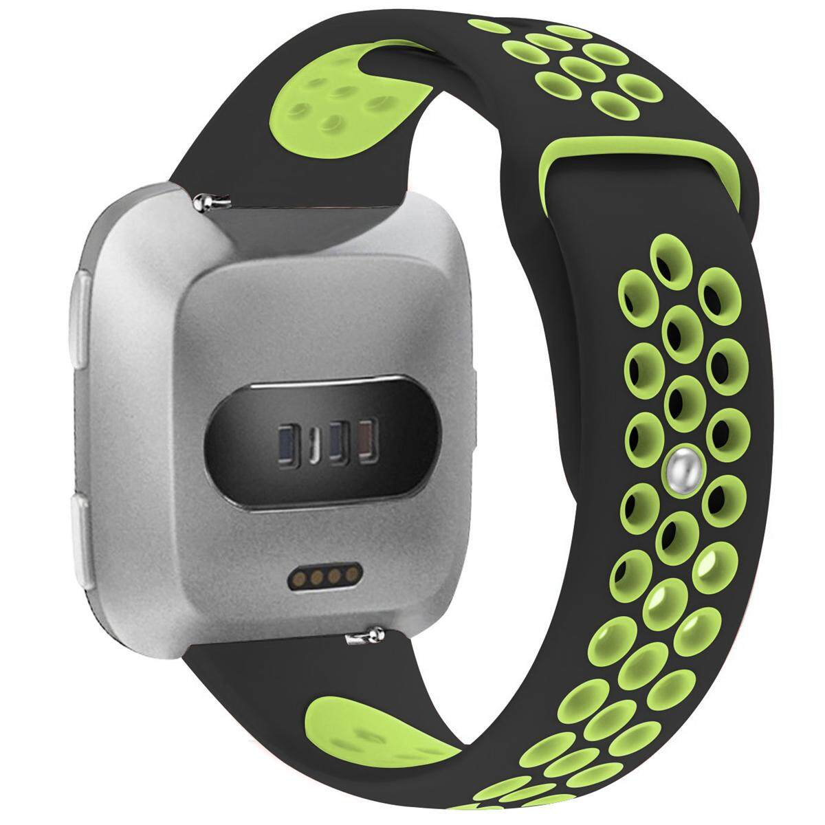 Fitness Smart Watch Silicone Strap Bands with Ventilation Holes For Fitbit Versa Black and Green -