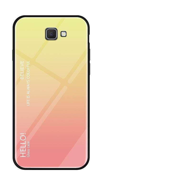 Untuk Samsung Galaxy J5 Prime On5 2016 Gradien Warna Kaca Antigores Casing Kaca Penutup Belakang Lembut TPU Bumper Case