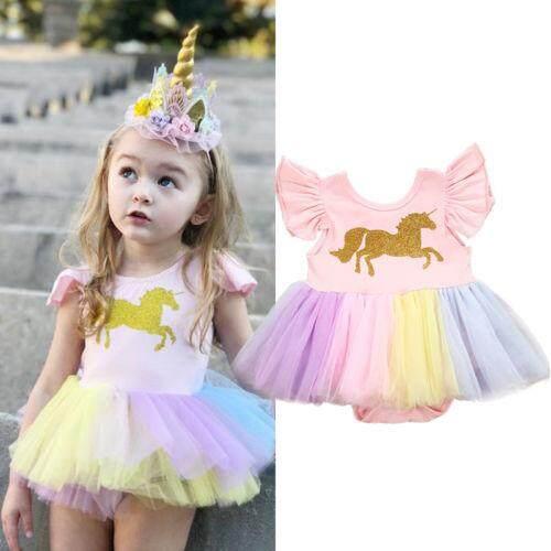 b8f55e1e22397 Newborn Toddler Baby Girls Unicorn Lace Tutu Romper Fancy Dress Outfits  Costume