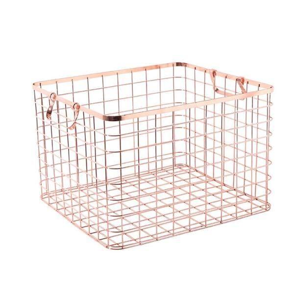 DFZX Trade Metal Rose Gold Storage Basket Chic Hand-made Iron Net Table Shelves Basket Bath Clothes Cosmetics Storage Basket