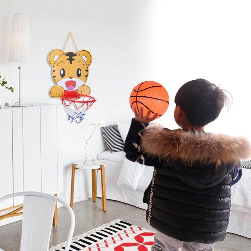 5 In 1 Cartoon Animal Hanging Basketball Set Hoop Net String Pump Kids Toy Tiger By Globedealwin.