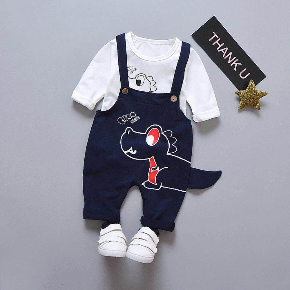 Tideshop 2 Pcs Bayi Balita Laki-laki Gadis Kartun Dinosaurus Atasan Celana Suspender Pakaian Set