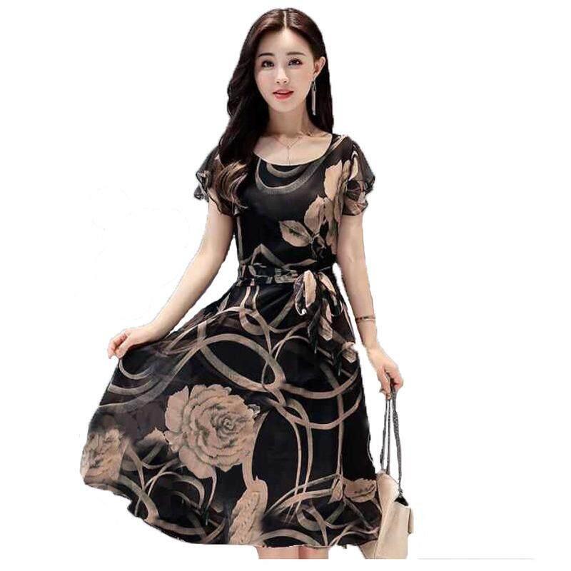 7308674bfc7f Summer New Style Women's Dress Europe And America Slimming Large Size  Printed Chiffon Dress Fashion Elegant