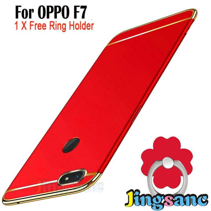Untuk OPPO F7 [Casing Ponsel + Dudukan Cincin] Luxury 3 In1 Desain Matte Hard