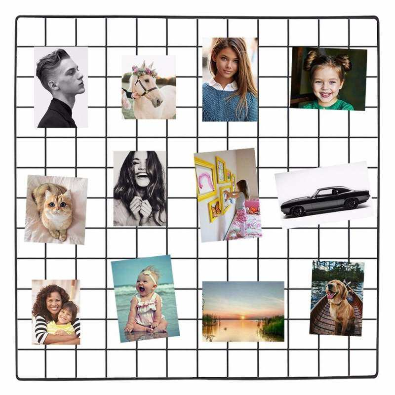 Grid Photo Wall Wire Mesh Display Grid Panel Metal Picture Frames Wall Decor Board Art Display Organizer, Pack of 2 Pcs, Size 60x60cm - intl