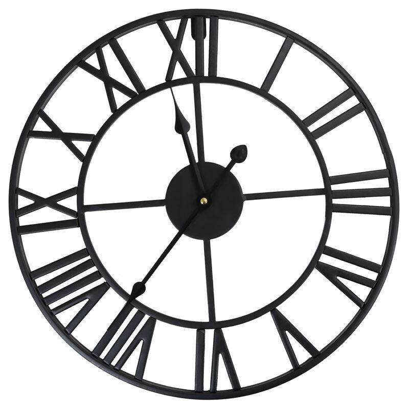 LARGE OUTDOOR GARDEN WALL CLOCK BIG ROMAN NUMERALS GIANT OPEN FACE METAL  Size 60CM d2afa7ca13