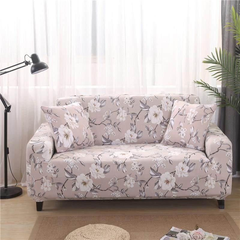 (3 Seater) Reactive Printed Sofa Cover Stretch High-Elasticity Sofa Slipcover,Free 1 Pillowcase